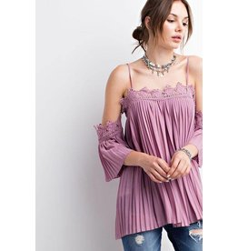 Easel Top-Cold Shoulder, Crochet & Pleated Blouse