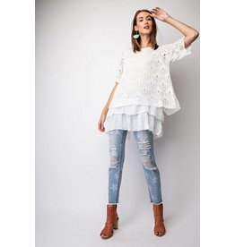 Easel Top-Ruffled Knit Babydoll Style