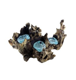 Cohasset Molten Glass & Wood Candle Holder TRIPLE