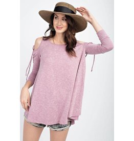 Easel Top-Cold Shoulder, Soft Stretchy, Loose Fit, Long Sleeve