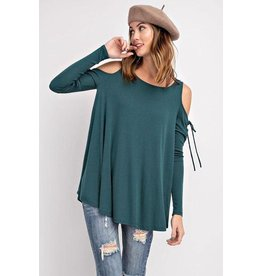 Easel Top-Cold Shoulder, Soft Stretchy, Lace Up Long Sleeve