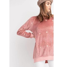 Easel Sweatshirt-Pullover, Soft, Emb Stars