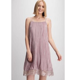 Easel Dress-Pleated Satin Cami & Lace