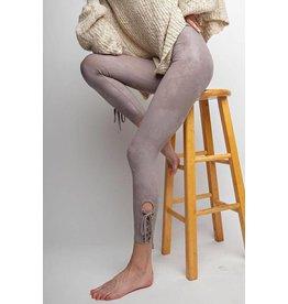 Easel Leggings-Laced Hem, Washed Knit