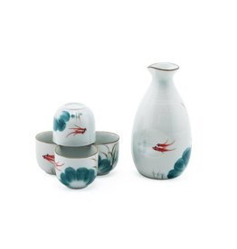Sake Set-Porcelain 'Japanese Goldfish' (5pc)