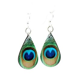 Green Tree Earrings Wood-Peacock Feather