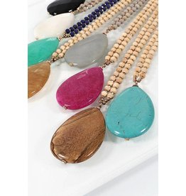 Urbanista Necklace-Tear Drop Naural Stone Pendant