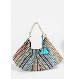 Urbanista Hobo Bag-Zigzag Stitch Trim & Tassel, Multi Color