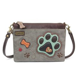 Chala Bags Crossbody-Mini-Teal Paw Print-Grey