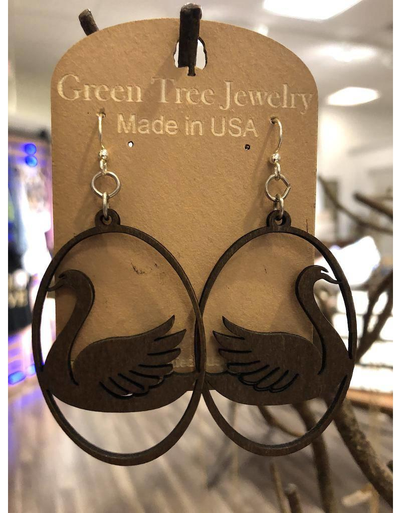 Green Tree Earrings Wood-Swan