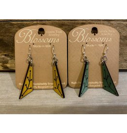 Green Tree Earrings Wood-New Growth Triangle