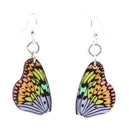 Green Tree Earrings Wood-Brilliant Butterfly Wings