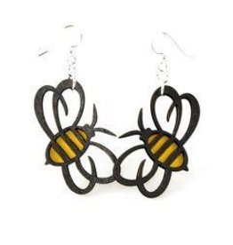 Green Tree Earrings Wood-Bumble Bee