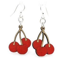 Green Tree Earrings Wood-Cherry Bunch