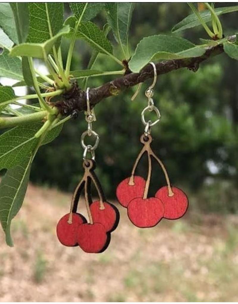 Green Tree Earrings Wood-Cherry Bunch