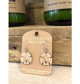 Green Tree Earrings Wood-Sand Dollar