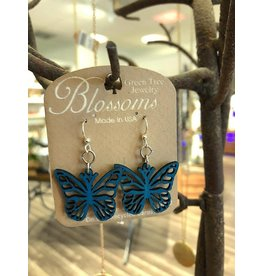 Green Tree Earrings Wood-Blossom Butterfly