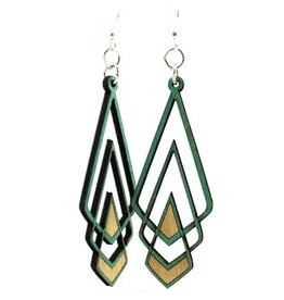 Green Tree Earrings Wood-Chevron Deco