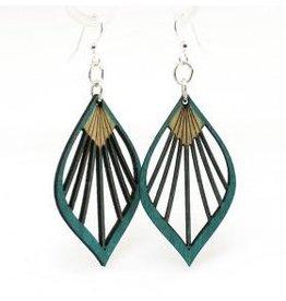 Green Tree Earrings Wood-Fan Palm Leaf