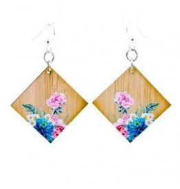 Green Tree Earrings Wood-Floral Artistry Bamboo