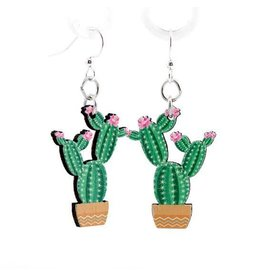 Green Tree Earrings Wood-Flowering Cactus