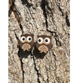 Green Tree Earrings Wood-Owl Studs