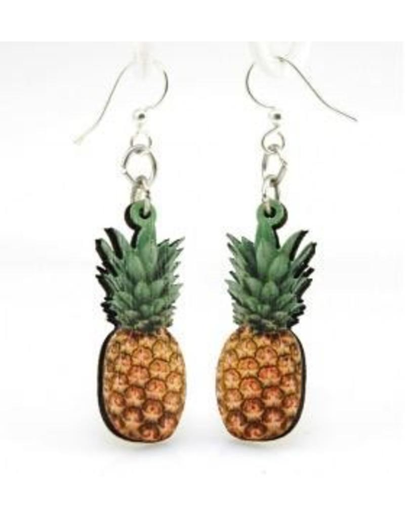 Green Tree Earrings Wood-Pineapple Digital Photo