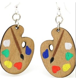 Green Tree Earrings Wood-Painter Palette