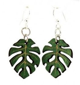 Green Tree Earrings Wood-Split Leaf Philodendron Leaf Blossoms