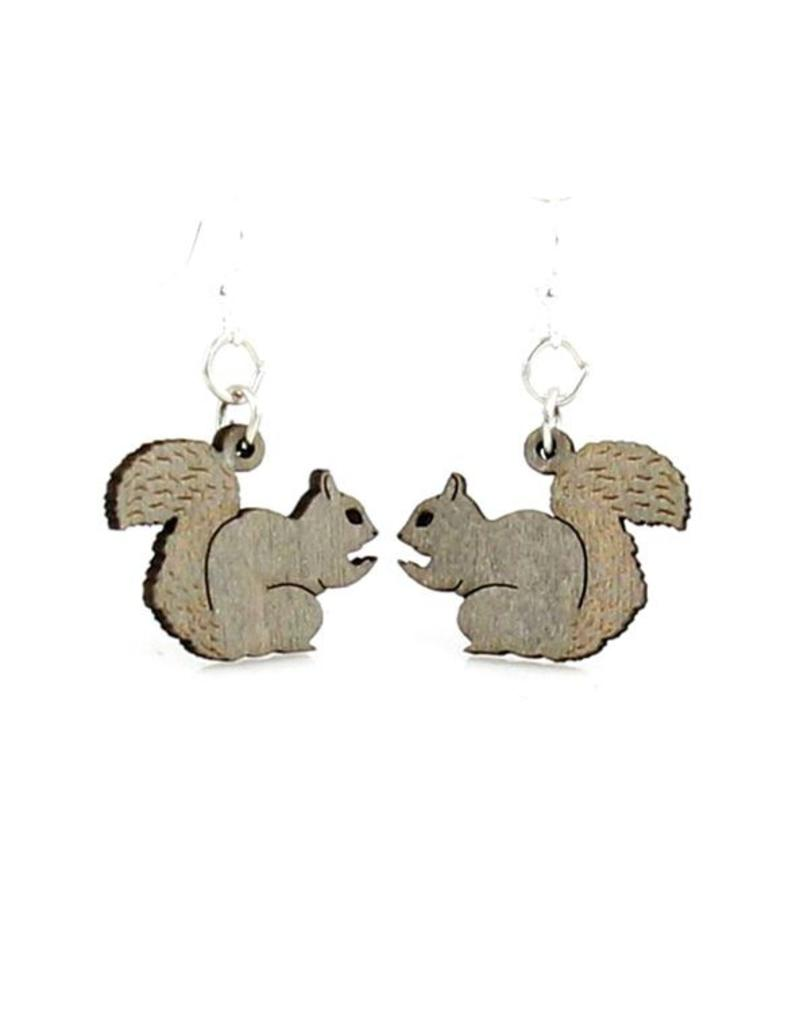 Green Tree Earrings Wood-Squirrel