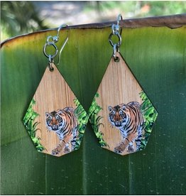 Green Tree Earrings Wood-Tiger Bamboo