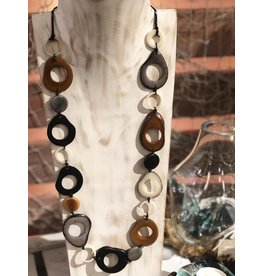 Pampeana Art Glass Necklace, Tagua Nuts-Long Circle (BLK/WH/GR/BR)