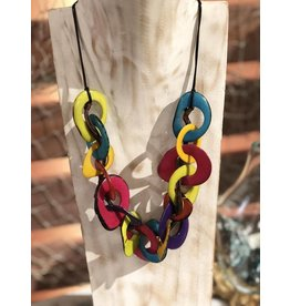 Pampeana Art Glass Necklace, Tagua Nuts-Multi Ring (MULTI)
