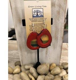 Pampeana Art Glass Earrings, Tagua Nuts-Bark Hole (RED)