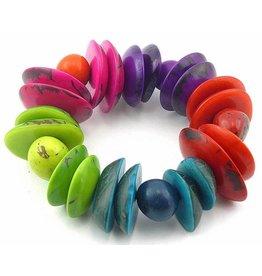 Ecuador Crafts Bracelet, Tagua Nut Slices & Chunks (RAINBOW)