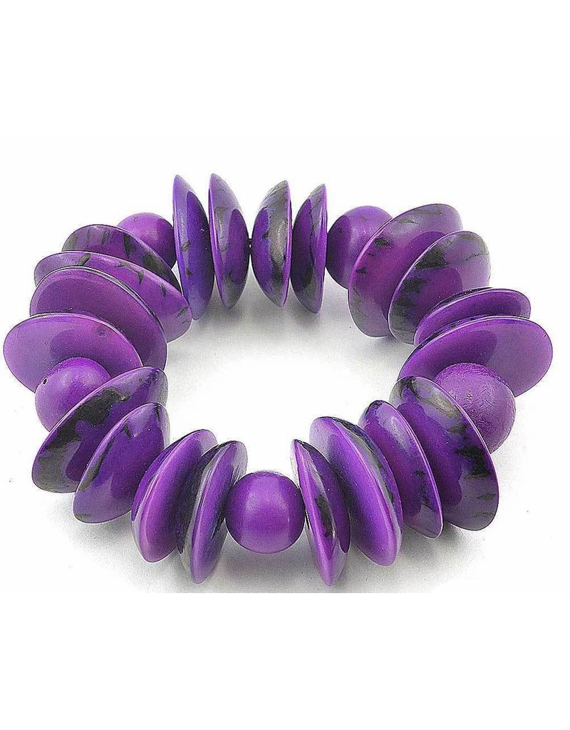 Ecuador Crafts Bracelet, Tagua Nut Slices & Chunks (PURPLE)