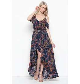 Illa Illa Dress-Maxi High-Low, Open Shoulder Floral