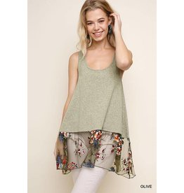 Umgee USA Tank Top - Heather Racerback, Floral Embroidery