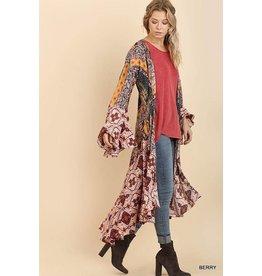Umgee USA Kimono-Ruffled long Body, Boho Print