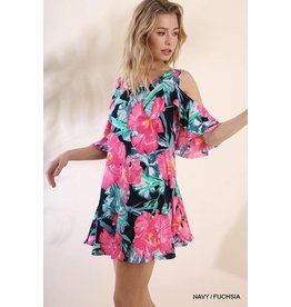 Umgee USA Dress-Open Shoulder, Ruffle Sleeve, Floral Print