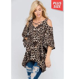 Nadia Collection Top-Open Shoulder, Leopard Print (PLUS Size)