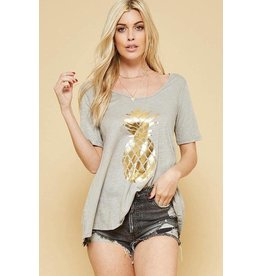 Avenue Hill T-Shirt, Gold Pineapple