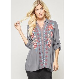 Andree by Unit Shirt-Button Down Relaxed, Floral Embroidery