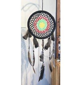 "Ecuador Crafts Dreamcatcher-12"" Crochet Center & Feathers"