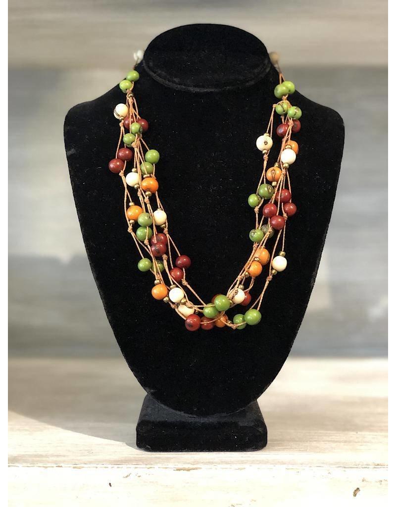 Ecuador Crafts Necklace, Acai Seeds Strands (EARTH)