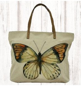 Art Studio Company Tote-Leather Strap Canvas-Butterfly