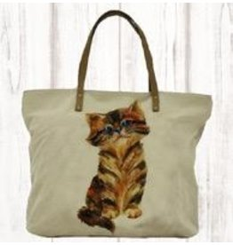 Art Studio Company Tote-Leather Strap Canvas-Kitty Cat