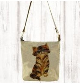 Art Studio Company Crossbody-Leather Strap Canvas-Kitty Cat
