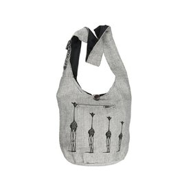 Kathmandu Imports Cotton Hobo Bag-'Giraffe Family', Grey