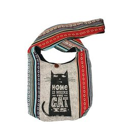 Kathmandu Imports Cotton Hobo Bag-'Home Is Where The Cat Is'